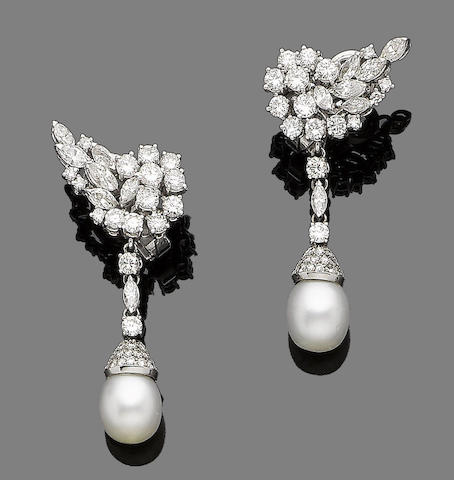 A pair of pearl and diamond pendent earclips