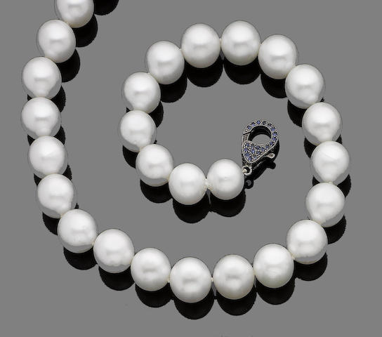 A cultured pearl and sapphire necklace