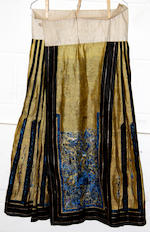 Two Chinese embroidered skirts and two Japanese silk kimono