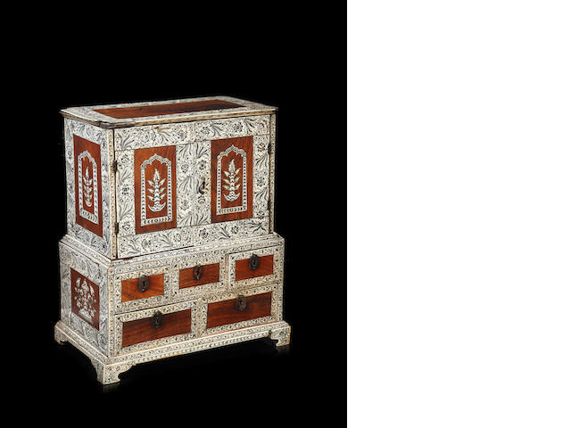 A late 19th century Indian Vizagapatam table cabinet on stand