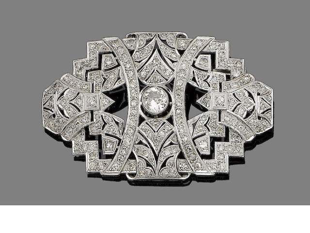 A diamond plaque brooch