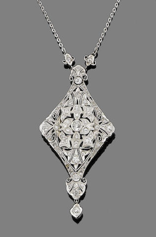 A diamond-set pendant necklace