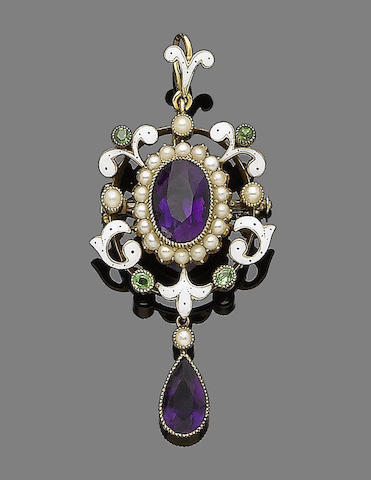 An enamel, pearl and peridot brooch/pendant