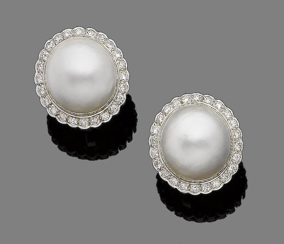 A pair of mabé pearl and diamond earrings