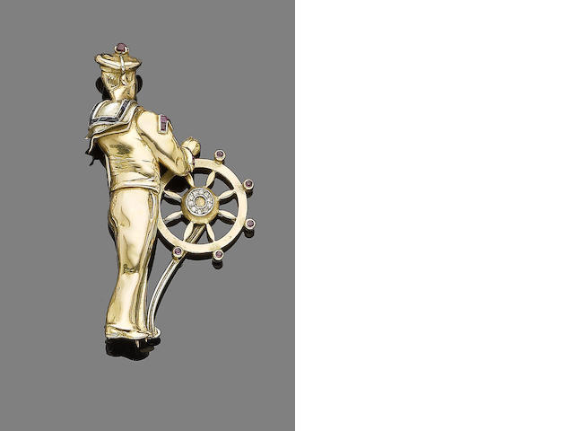 A gem-set novelty French sailor brooch,