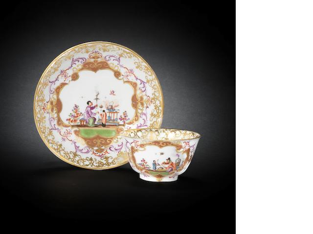 A Meissen teabowl and saucer, circa 1728