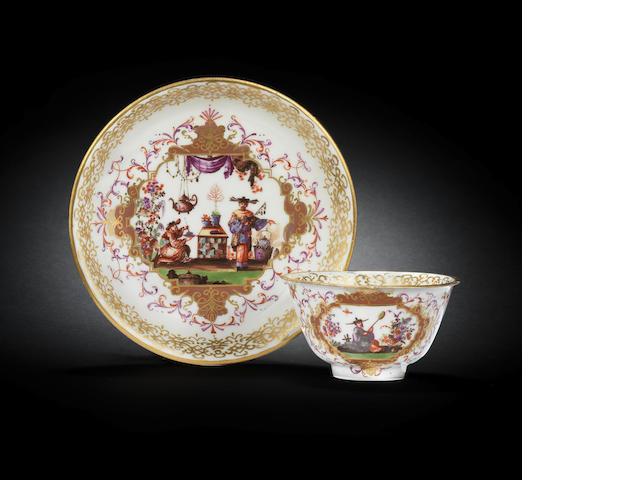 A Meissen teabowl and saucer, circa 1726