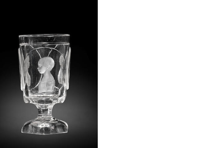 A fine North Bohemian engraved triple-portrait goblet by Dominik Biemann, Franzensbad, dated 1849