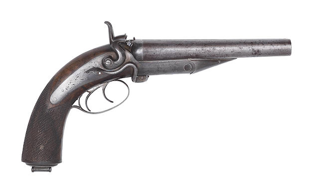 A .577 (Snider) double-barrelled hammer howdah pistol by Wilkinson & Son, no. 7008