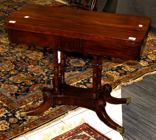A Regency mahogany card table,