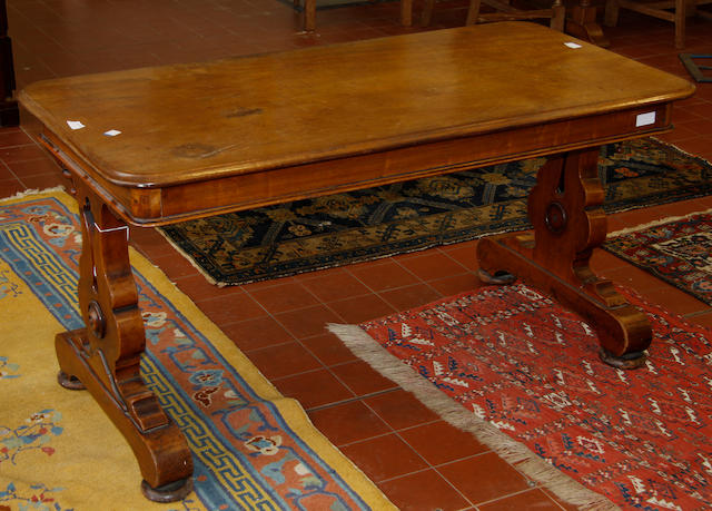 A Victorian walnut library table,