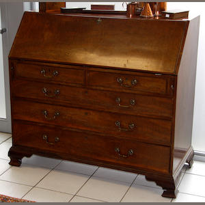 An early 19th Century mahogany bureau 126cm wide