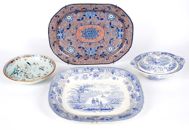 Miscellaneous English and Chinese ceramics comprising:A Staffordshire blue and white dish, 36cm wide; another with rust decoration; a 19th Century Chinese famille rose dish; five 18th Century Chinese blue and white plates; an Imari lobbed bowl (AF); and other odd china, (parcel