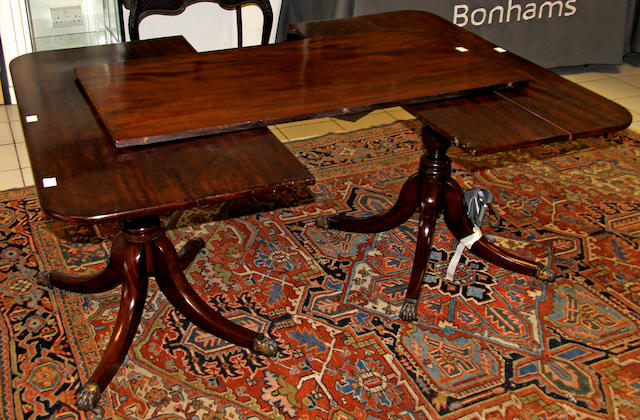 A 19th Century mahogany composite twin pillar dining table