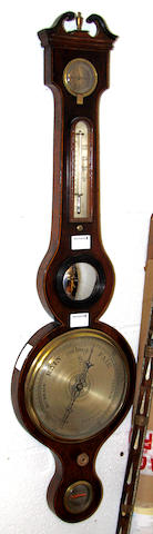 A 19th Century mahogany wheel barometer by Camponovo, Summers Town (sic) Oxon: