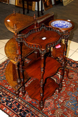 Rosewood whatnot, two corner whatnots and a tripod washstand (4)