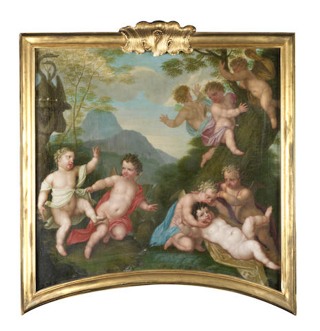 Augustinus Terwesten (The Hague 1711-1781) Putti playing before an open landscape