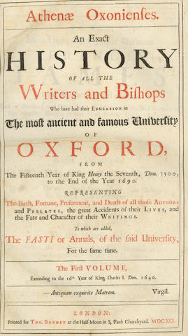 WOOD (ANTHONY) Athenae Oxonienses. An Exact History of all the Writers and Bishops Who Have Had Their Education in the Most Ancient and Famous University of Oxford, 2 vol. in one