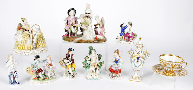 A small group of Continental ceramics to include