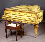 A Bluthner boudioir grand pianoforte, No. 77226, in a chinoiserie lacquered yellow ground case, with overstrung action, raised on turned round tapering fluted legs and castors, 192cm.Purchased reconditioned from Bluthners in March 1995