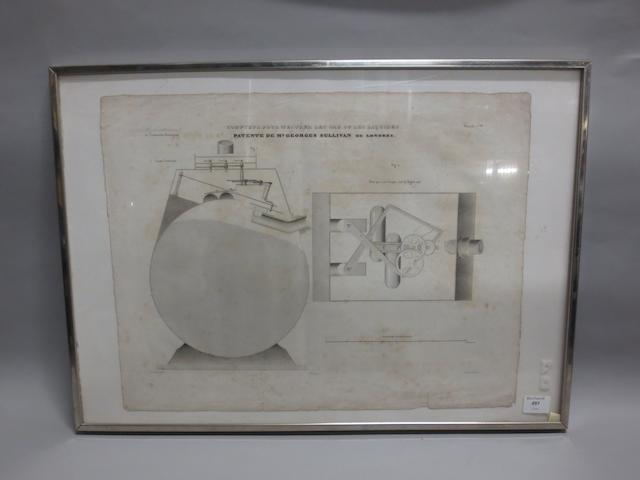 An original patent for a liquid or gas measuring system, French, circa 1900,