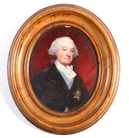 Henry Bone, R.A. (British, 1755-1834), after John Hoppner (British, 1758-1810) Murrough O'Brien, 1st Marquess of Thomond KP, PC (1726-1808), 5th Earl of Inchiquin (1777-1800), wearing purple coat, white waistcoat, pale blue sash and breast star of the Order of Saint Patrick, white chemise, stock and frilled cravat, his hair powdered