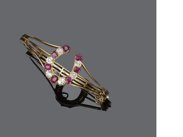 A ruby and diamond bangle/brooch, (2)