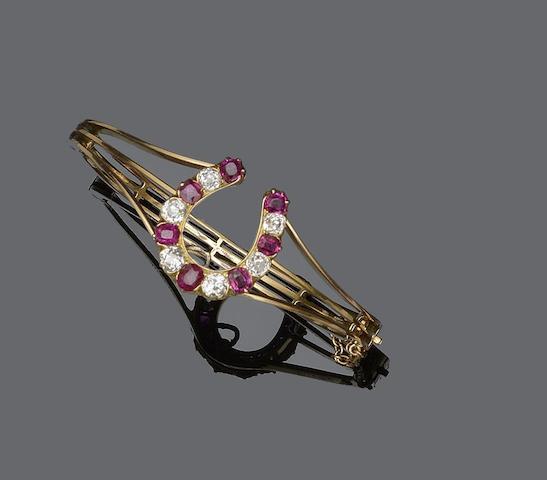A ruby and diamond bangle/brooch, (2)