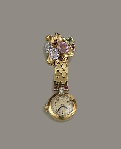 A gem set fob watch,