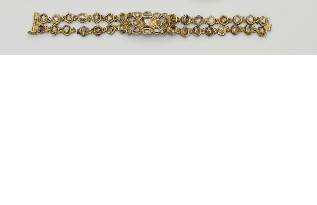 An Indian diamond and enamel bracelet