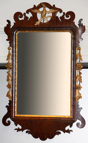A George III mahogany fretwork wall mirror