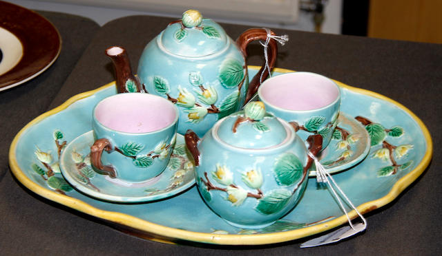 An English majolica nine piece tea set, 19th century