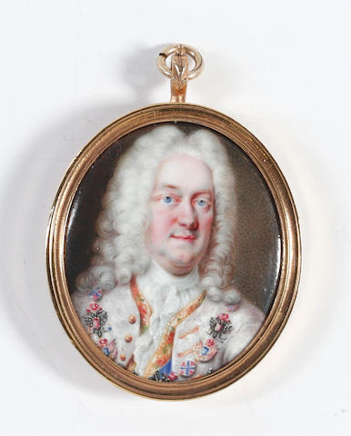 Circle of Charles Boit (Swedish, 1663-1727) A Nobleman, possibly, Johann Wilhelm II (1658–1716), Elector Palatine (1690–1716), wearing white embroidered coat, gold waistcoat edged decorated with embroidered flowers, white chemise, stock and lace cravat, his long curling wig powdered, blue sash and a gilded collar bearing the double-headed eagle of the Holy Roman Empire