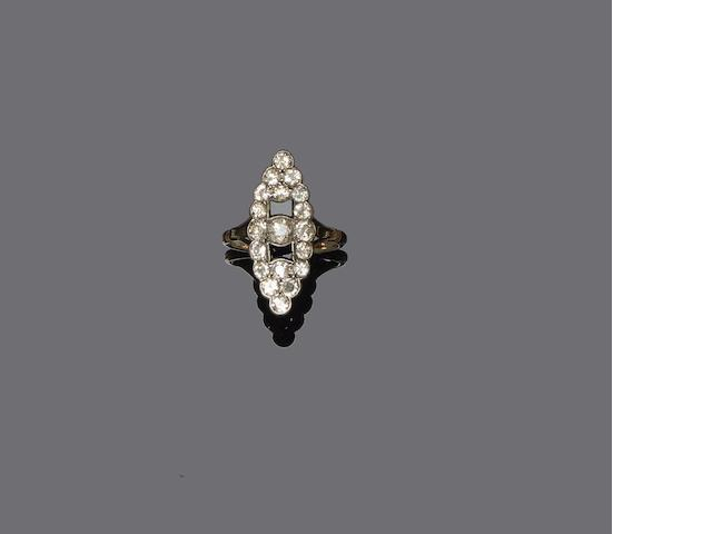 An early 20th century onyx and diamond ring