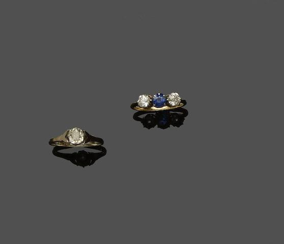 Two gem set rings (2)