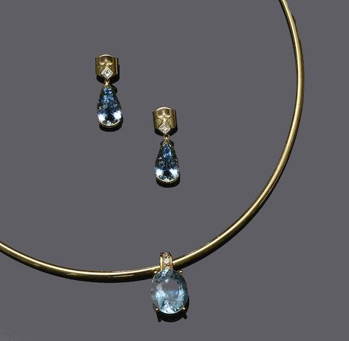 H Stern: An aquamarine and diamond necklace and earpendants  (2)