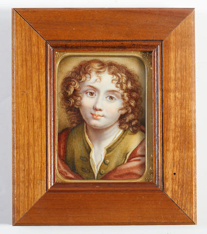English School, Mid-Late 19th Century A Young boy, wearing olive green jerkin and white chemise, a brown cloak draped about him, his pre-Raphaelite curls parted and worn to his shoulders (cracked)