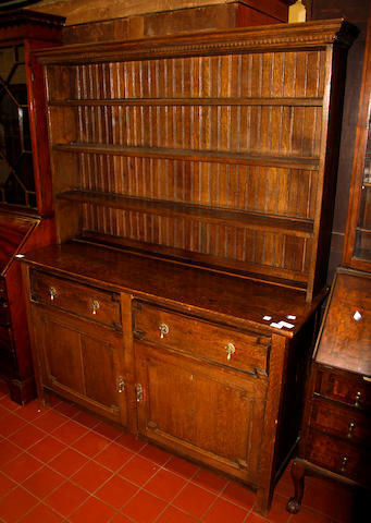 An oak dresser in two parts
