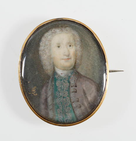 Andrew Benjamin Lens (British, circa 1713-circa 1779) A Gentleman, wearing grey coat and emerald green waistcoat, both edged with silver embroidery, white stock, his powdered wig curling behind his shoulders