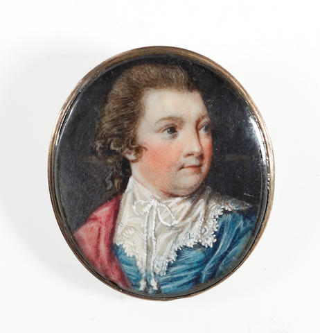 Circle of Samuel Shelley (British, 1750-1808) A Gentleman, wearing turquoise coat with white lace cavalier collar, cerise cloak draped over his right shoulder, his natural wig worn en queue