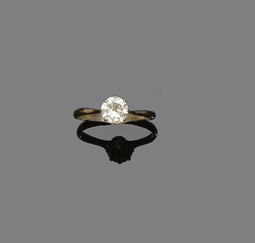 An 18ct gold single stone diamond ring