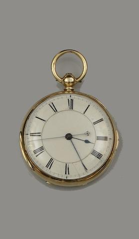 Barney Barnett, Hull. An 18ct gold key wind open face chronograph pocket watch