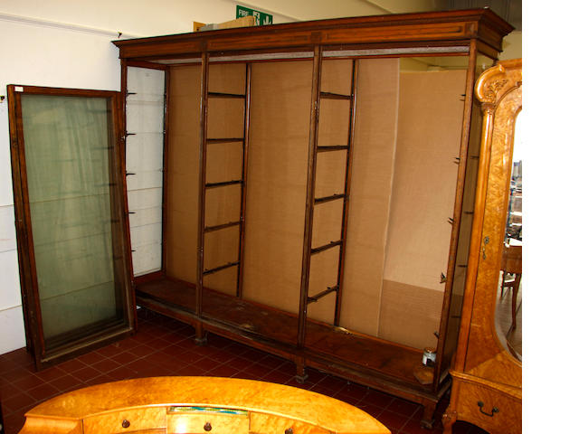An oak museum display cabinet,