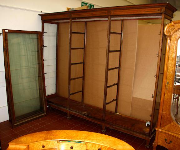 An oak museum display cabinet,