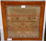 A Victorian needlework picture, 30 x 43cma sampler dated 1846; a Victorian needlework picture of flowers in a vase; and a modern floral needlework picture, (4)