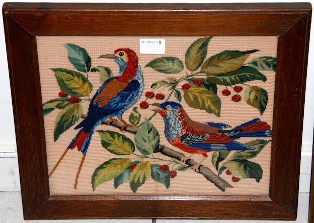 A late 18th Century needlework sampler worked by Maria Piper, dated 1793, 38 x 33cma 19th Century faded sampler and a modern needlework bird picture, (3)