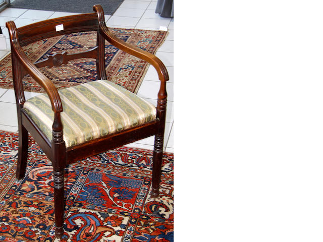 A Regency mahogany elbow chair