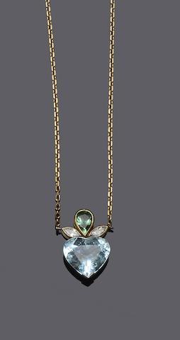 An aquamarine, tourmaline and diamond pendant necklace