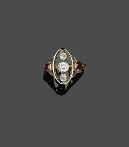 An early 20th century diamond and ruby plaque ring