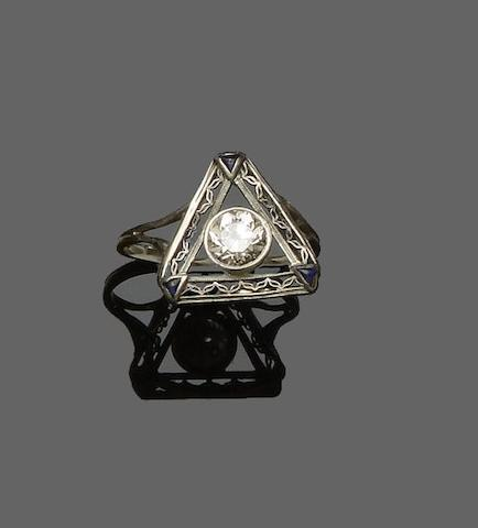 An early 20th century platinum and diamond ring